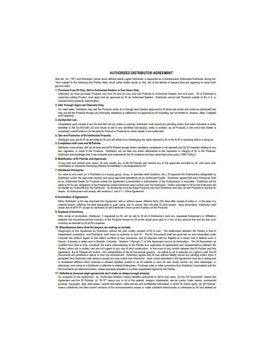 Authorised Distributor Agreement Template