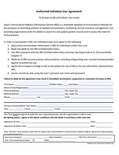 Authorised Individual User Agreement