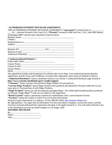 Authorised Internet Dealer Agreement