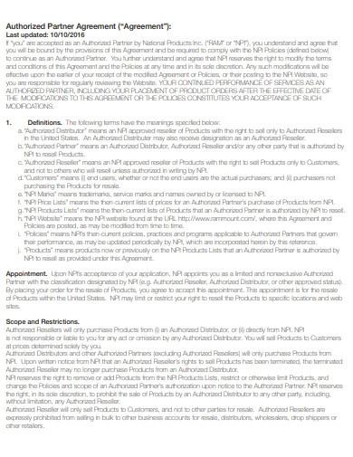 Authorised Partner Agreement Template