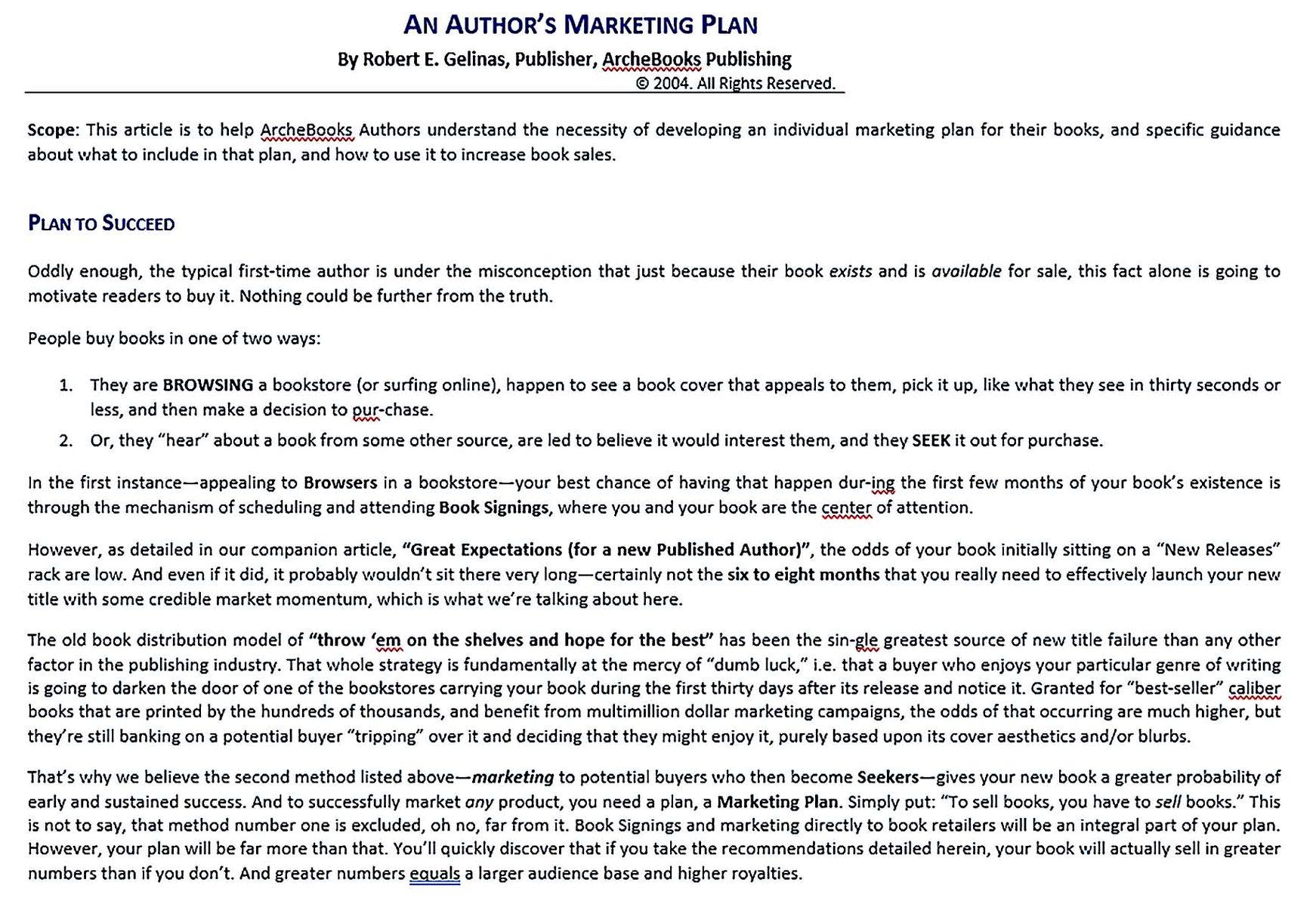 Authors marketing plan
