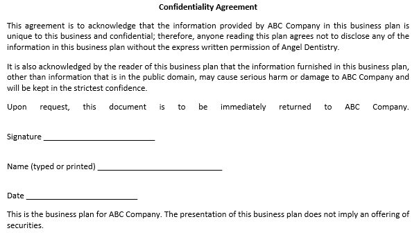 Basic Confidentiality Agreement for Business