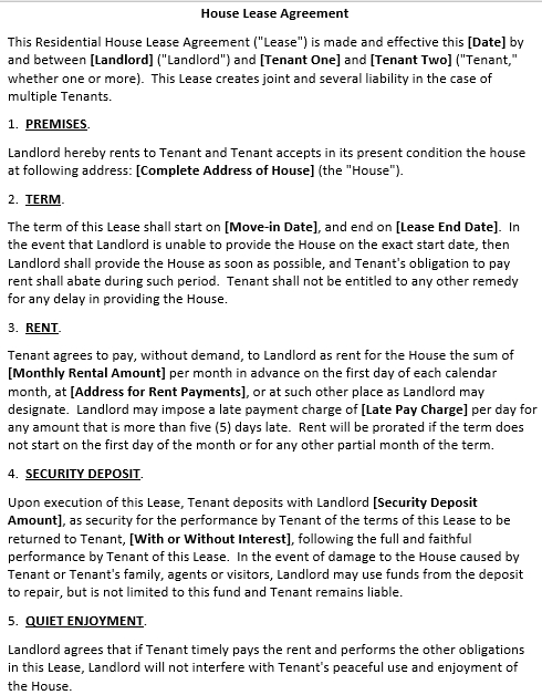 Basic House Lease Agreement