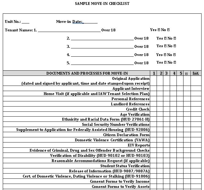 Basic Landlord Tenant Checklist Template