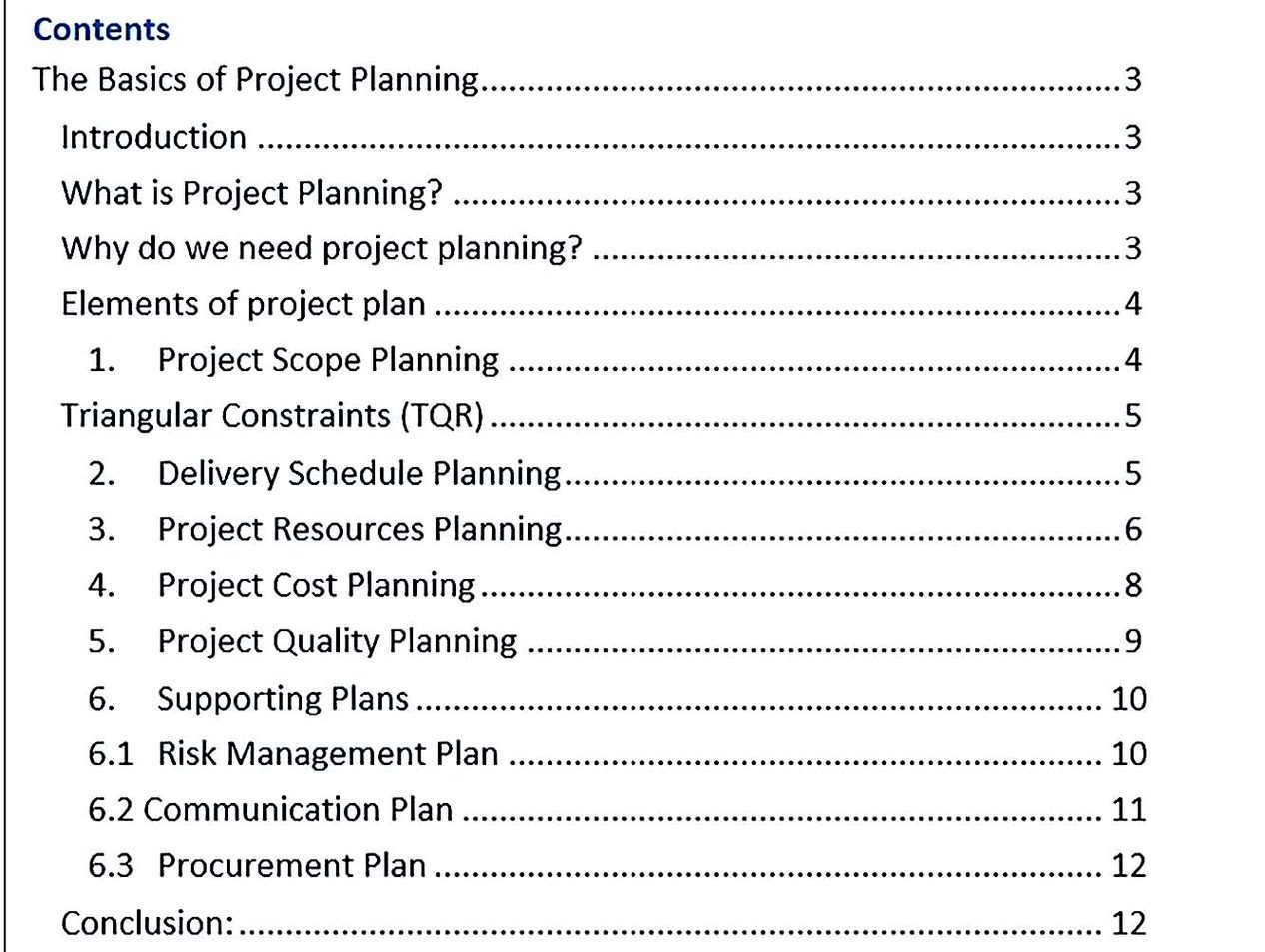 Basic Project Planning Template