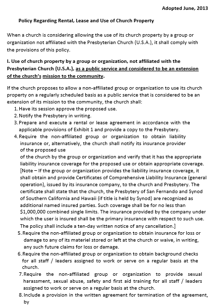 Basic church Lease Agreement Format