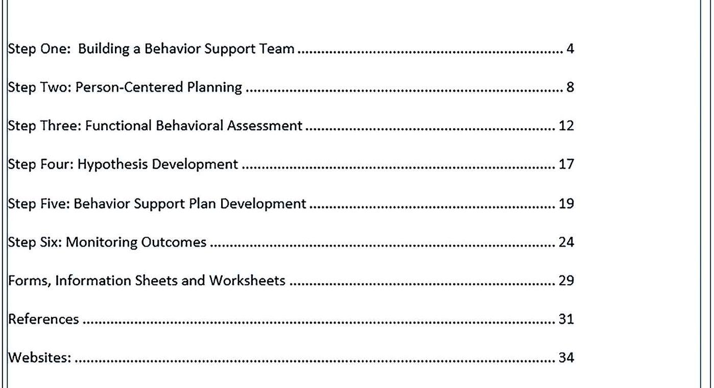Behavior Support Plan Template