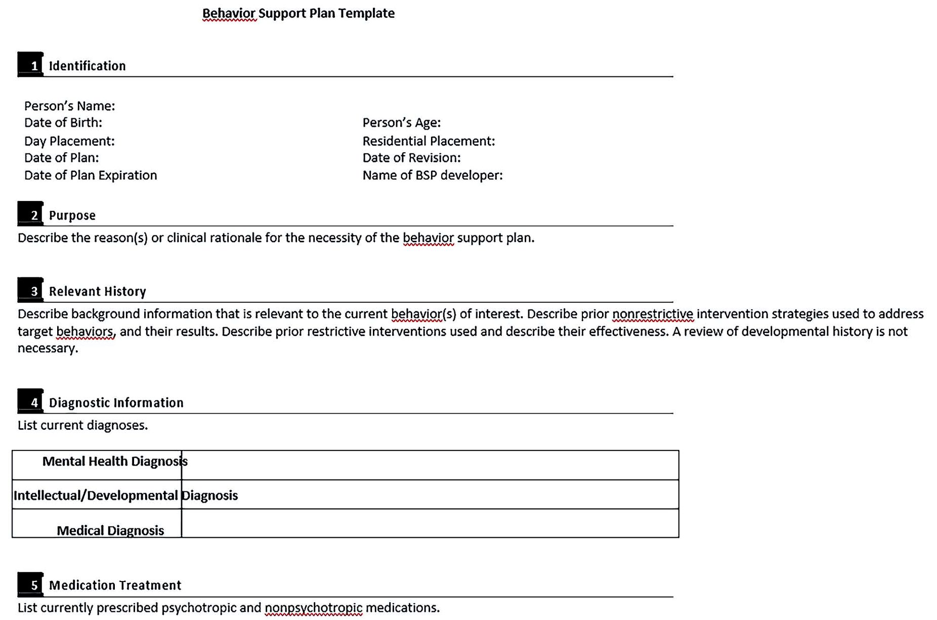 Behaviour Support Plan Template PDF