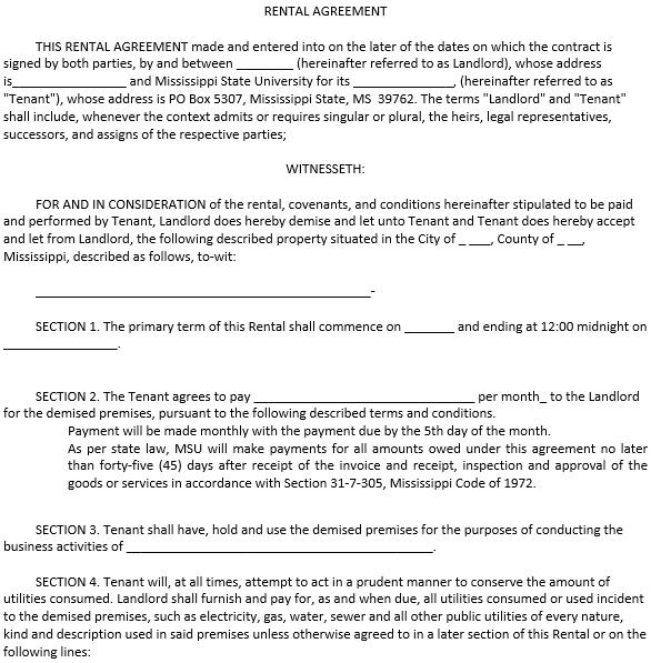 Blank Enterprise Rental Agreement