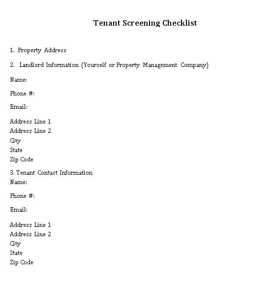 Blue Landlord Tenant Checklist Template