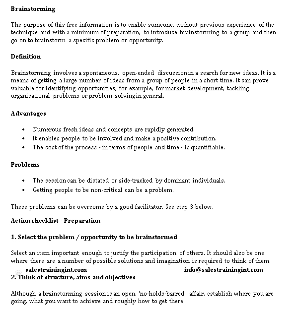 Brainstorming Checklist Example
