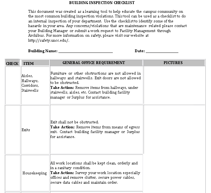 Building Inspection Checklist Template