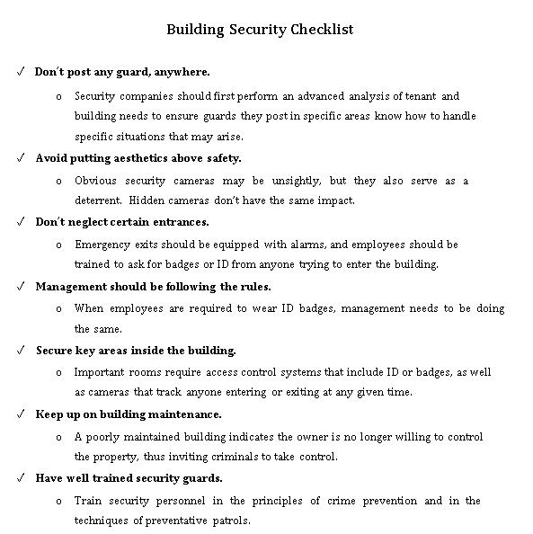 Building Security Checklist Format