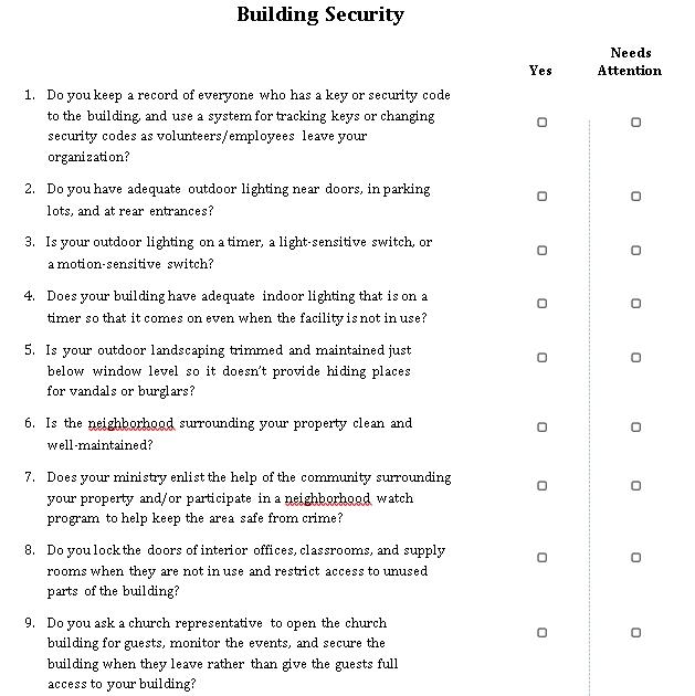 Building Security Checklist Template