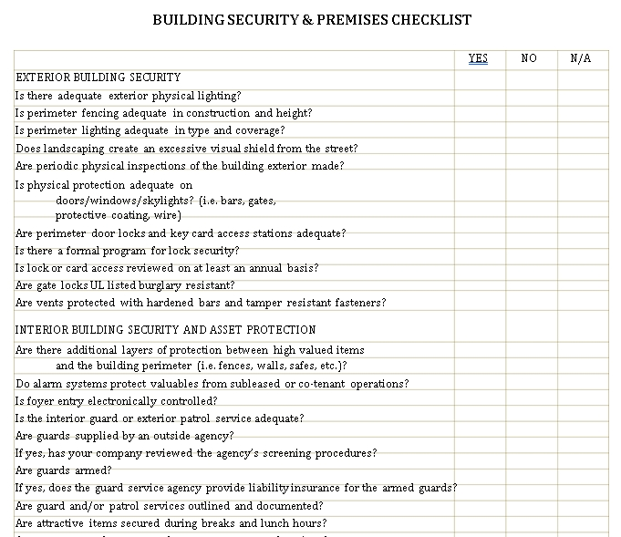 Building Security and Premises Checklist Template