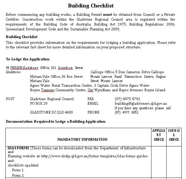 Building Work Checklist