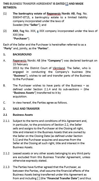 Business Asset Transfer Agreement