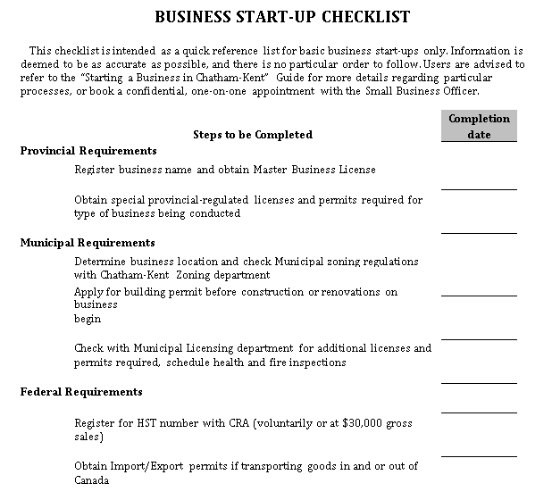 Business Checklist for Startup
