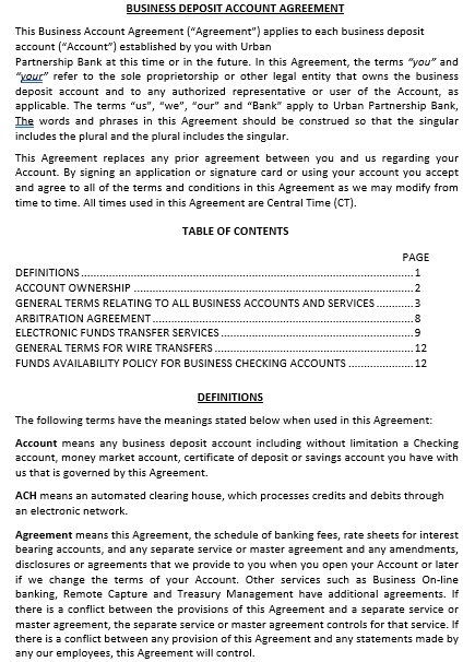 Business Deposit Agreement
