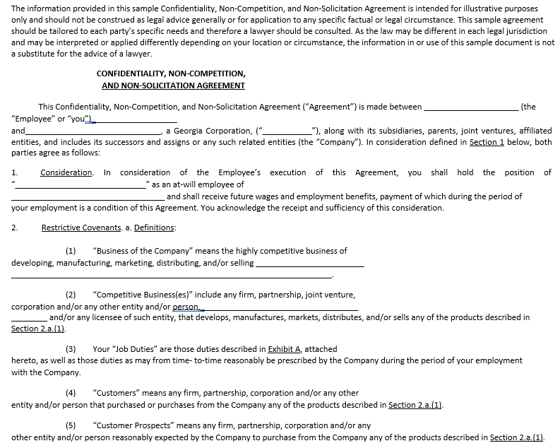 Business Non Compete Agreement