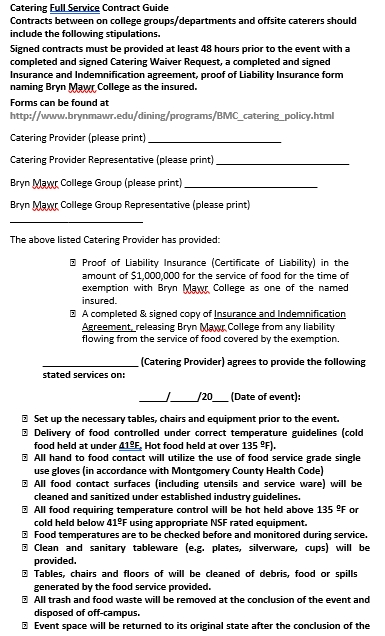 Catering Service Contract Agreement Template