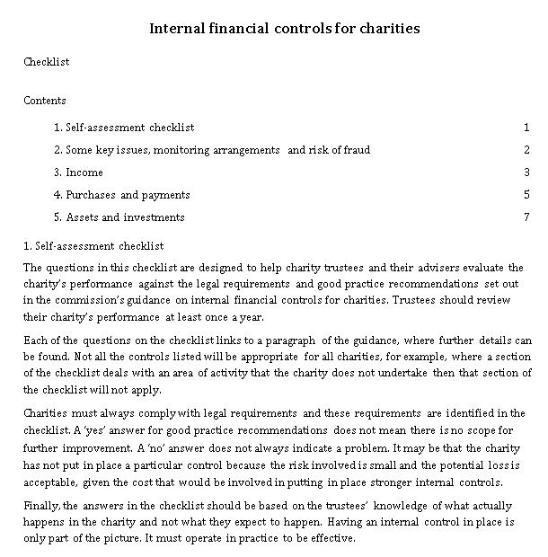 Charity Financial Control Checklist Template