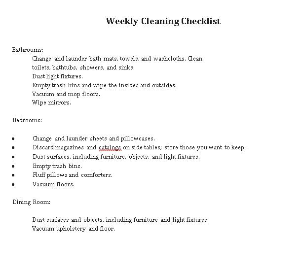 Checklist Weekly Clean PDF Format