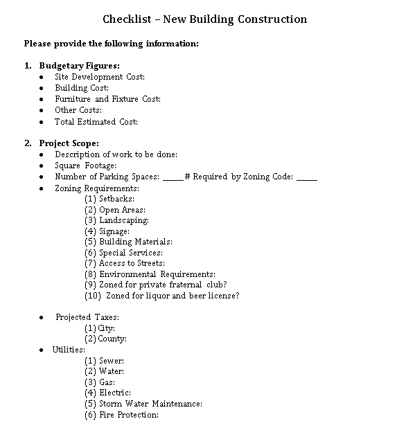 Checklist for Building Construction