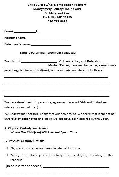 Child Parenting Custody Agreement