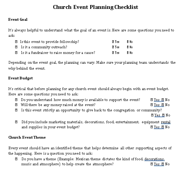 Church Event Planning Checklist