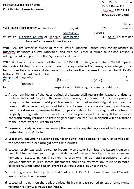 Church Lease Agreement in PDF