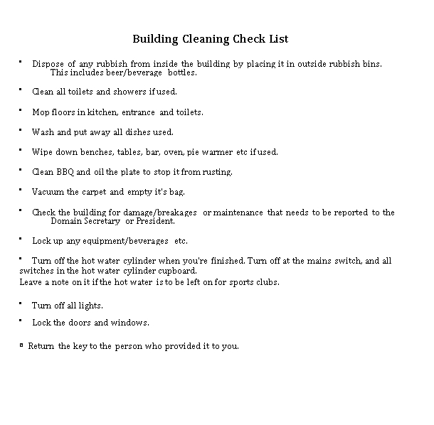 Cleaning Checklist for Building