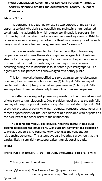 Cohabitation Agreement Template For Domestic Partners