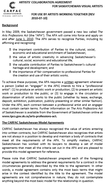 Collaboration Agreement for Artist
