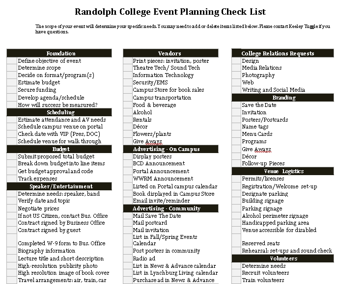 College Event Planning Checklist Template