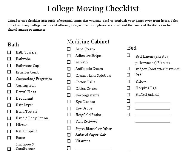 College Moving Checklist Template