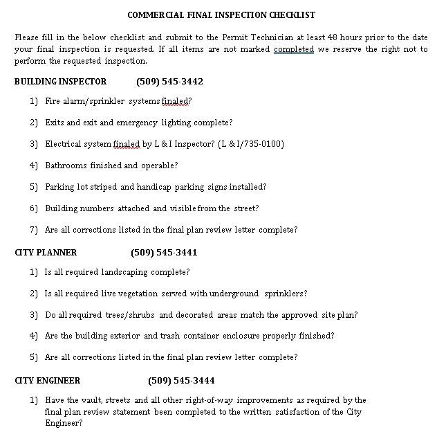 Commercial Final Inspection Checklist