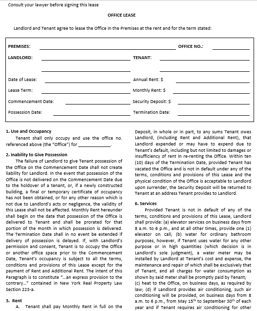 Commercial Office Rental Agreement