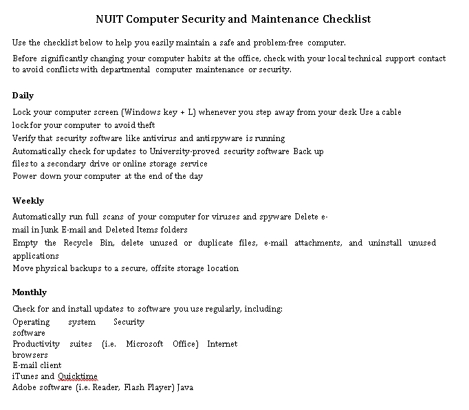 Computer Security and Maintenance Checklist Example