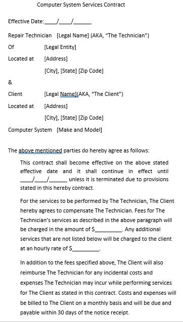 Computer System Services Contract Template