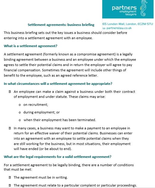 Confidentiality Settlement Agreement Between Business