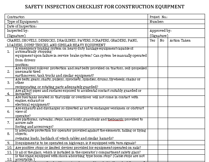 Construction Equipment Checklist