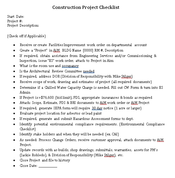 Construction Project Checklist Template