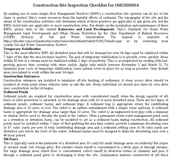 Construction Site Inspection Checklist Template