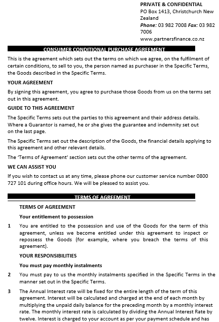 Consumer Conditional Purchase Agreement Template