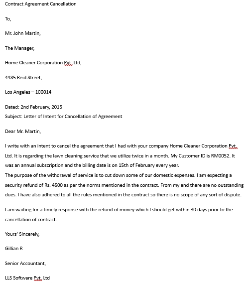 Contract Agreement Cancellation