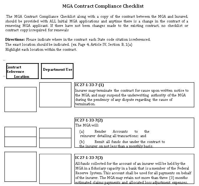 Contract Compliance Checklist Template