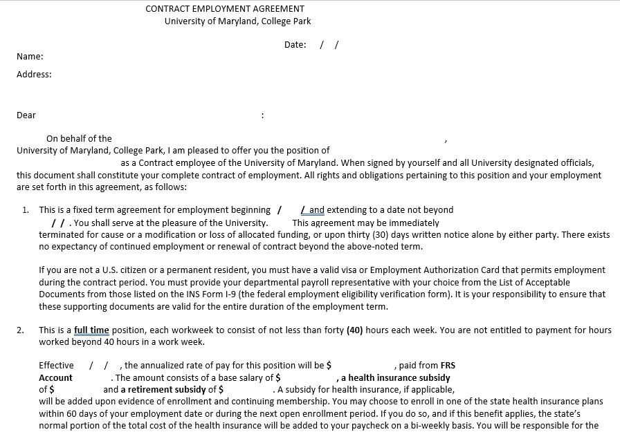 Contract Employement Agreement