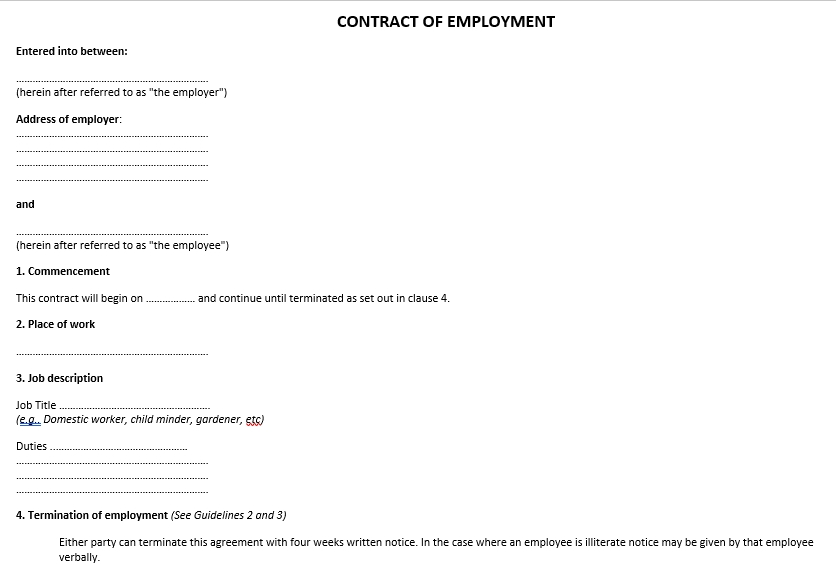 Contract Of Employment Agreement Document