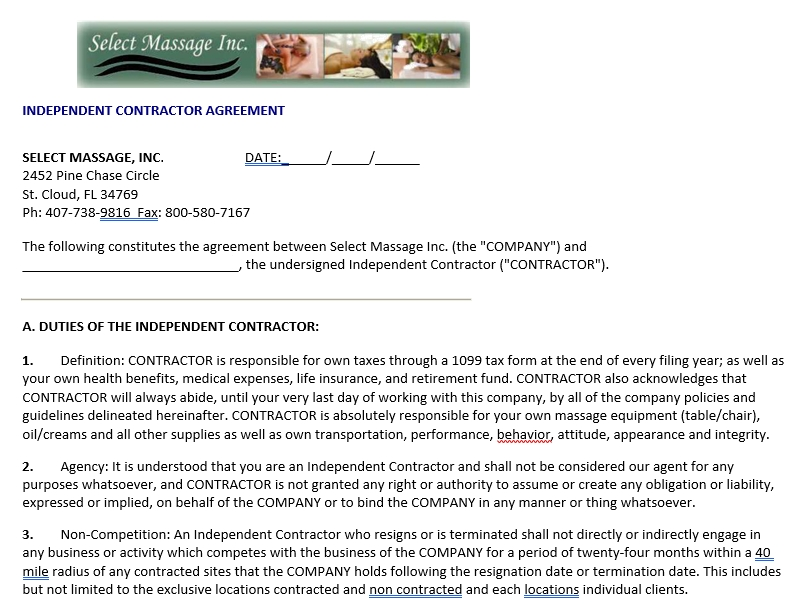 Contractor Non Compete Agreement 1